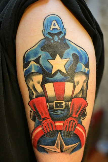Captain America By Jack At Fate Tattoo In Columbus Ohio Ideas And Designs