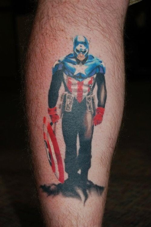 Captain America Standing With Shield Tattoos Pinterest Ideas And Designs