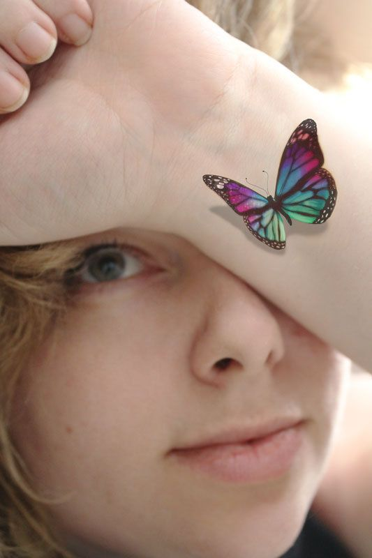 3D Stain Glass Butterfly Temporary Tattoo Looks Like If Ideas And Designs