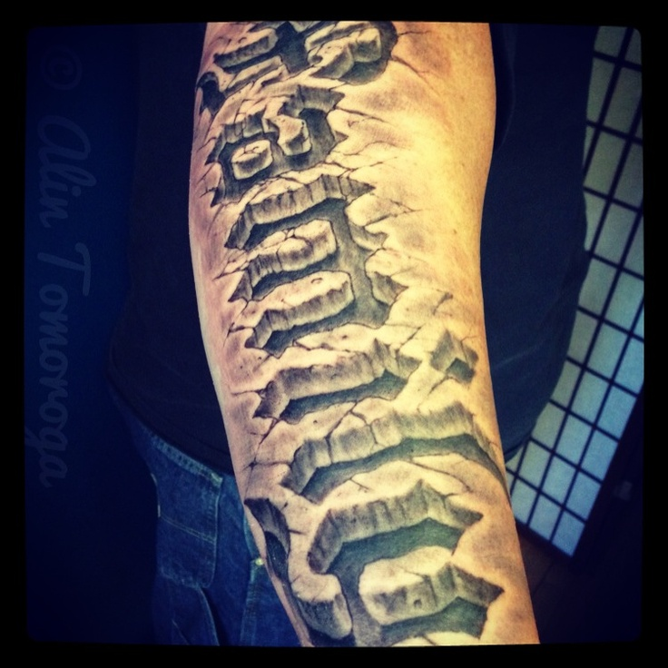 Family 3D Rock Texture Tattoo On Lower Arm 3D 3 Tat Ideas And Designs