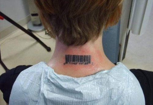 Someone S Tattoo Of The Bar Code From Their Copy Of Orwell Ideas And Designs