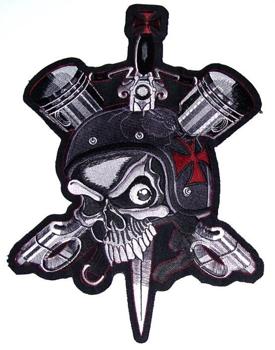 Road Worn Skull Motorcycle Vest Back Patch Pistons Maltese Ideas And Designs