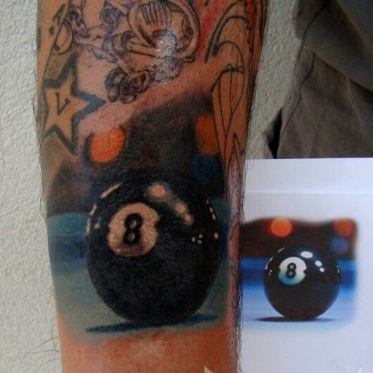 Realistic Billiard Ball 8 Color Tattoo This Would Be Fine Ideas And Designs