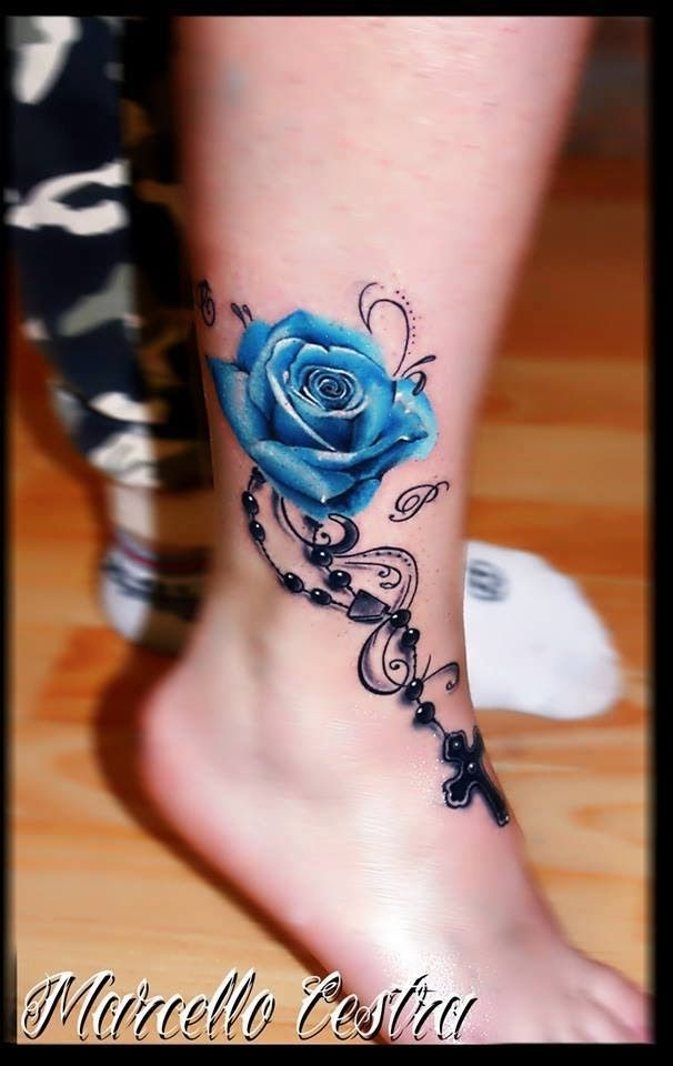 Blue 3D Rose Tattoo On Feet And Ankle This Is So Pretty Ideas And Designs
