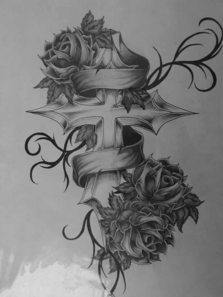Cross With Roses Tattoo Tatoos Ideas And Designs