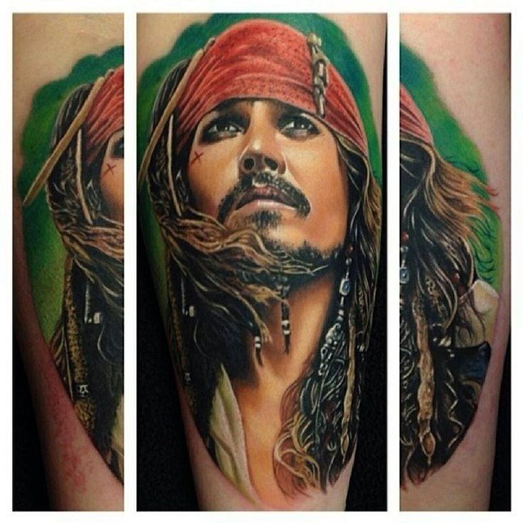 Captain Jack Sparrow Portrait Tattoo Tattoos Pinterest Ideas And Designs