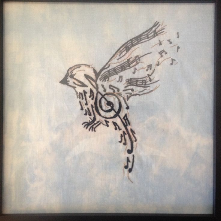 Musical Note Bird Embroidery This Was A Tattoo Design I Ideas And Designs