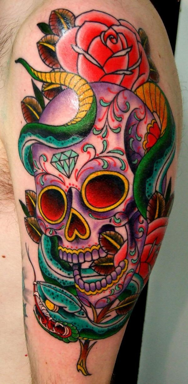 Sugar Skull Tattoo Design With Snake And Roses Tattoos Ideas And Designs