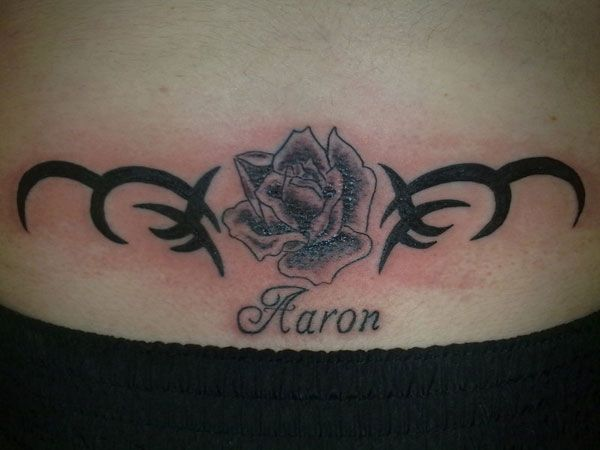Rose With Name Tattoo Tatts Pinterest Waist Tattoos Ideas And Designs
