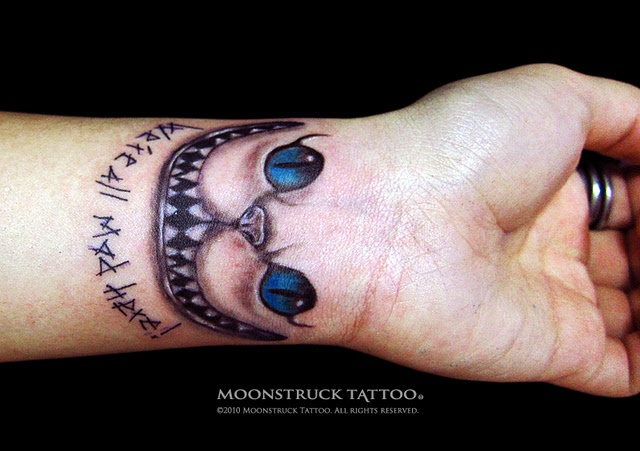 Cheshire Cat Wrist Tattoo We Re All Mad Here Love His Ideas And Designs