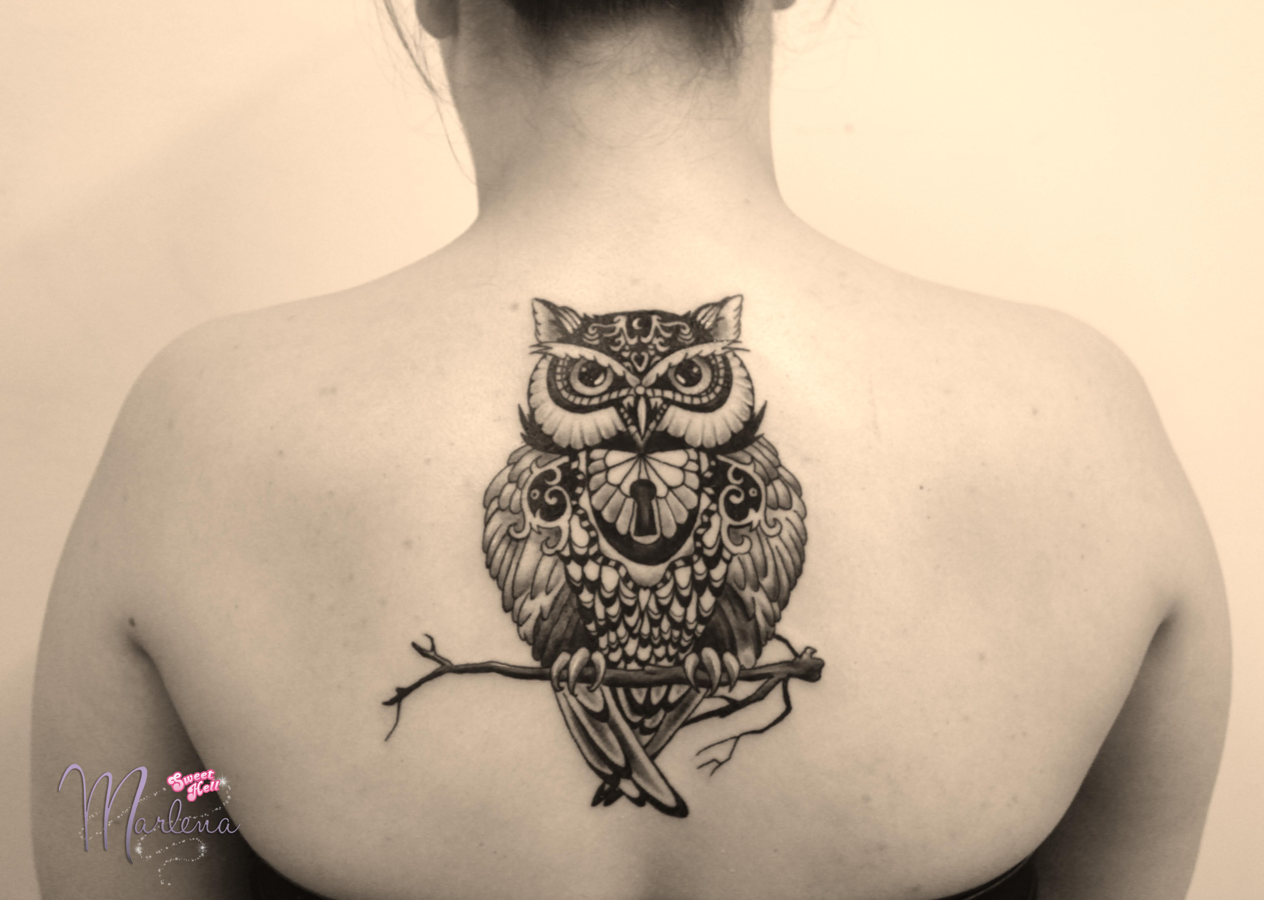 Owl Tattoo On A Back Between Shoulder Blades Black Ideas And Designs