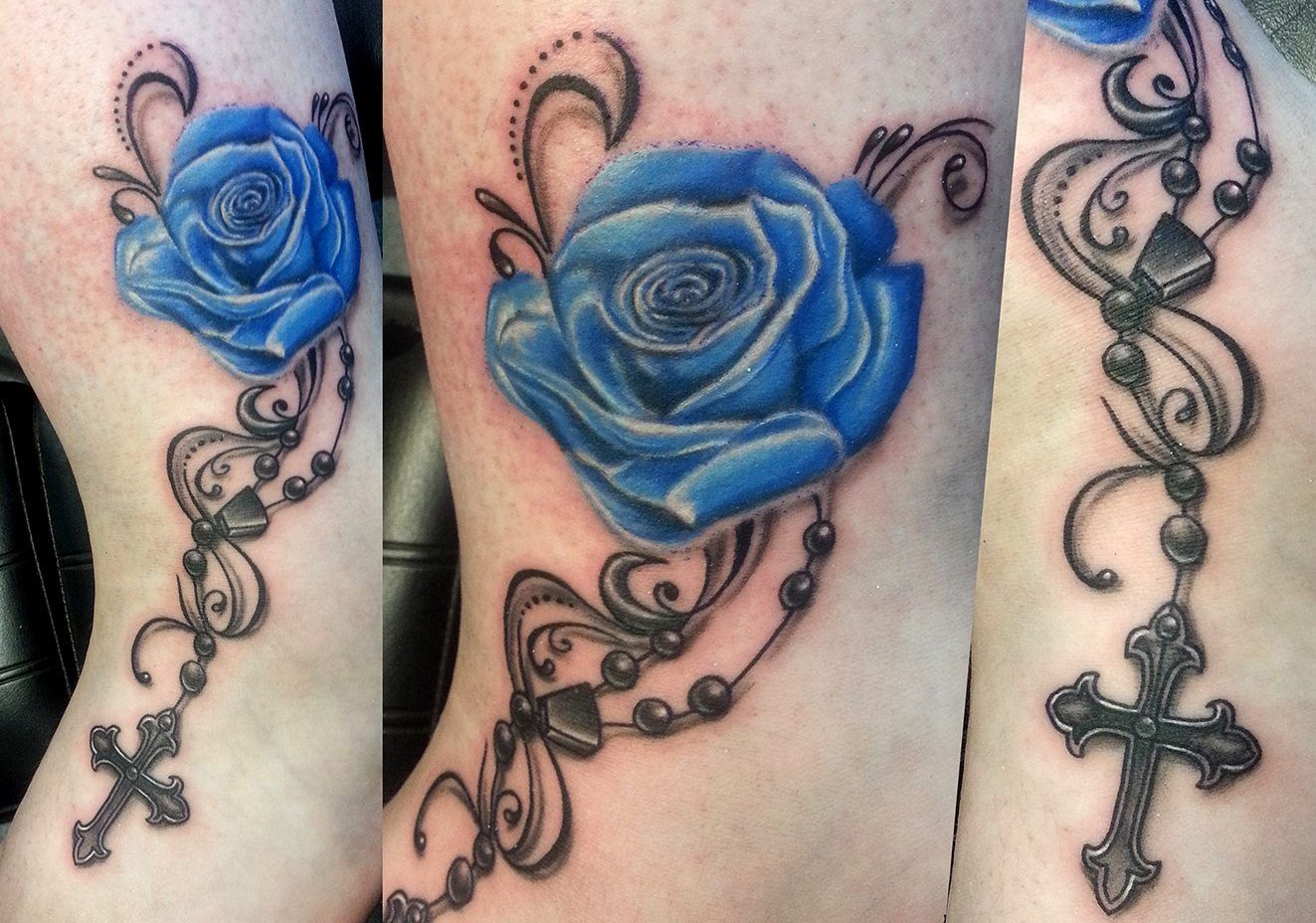 Blue Rose Tattoo With Rosary T A T T O O S Pinterest Ideas And Designs