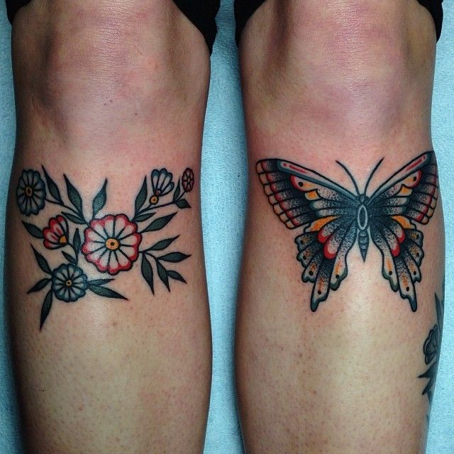 Butterfly And Flowers Tattoo On Knees Traditional Ideas And Designs