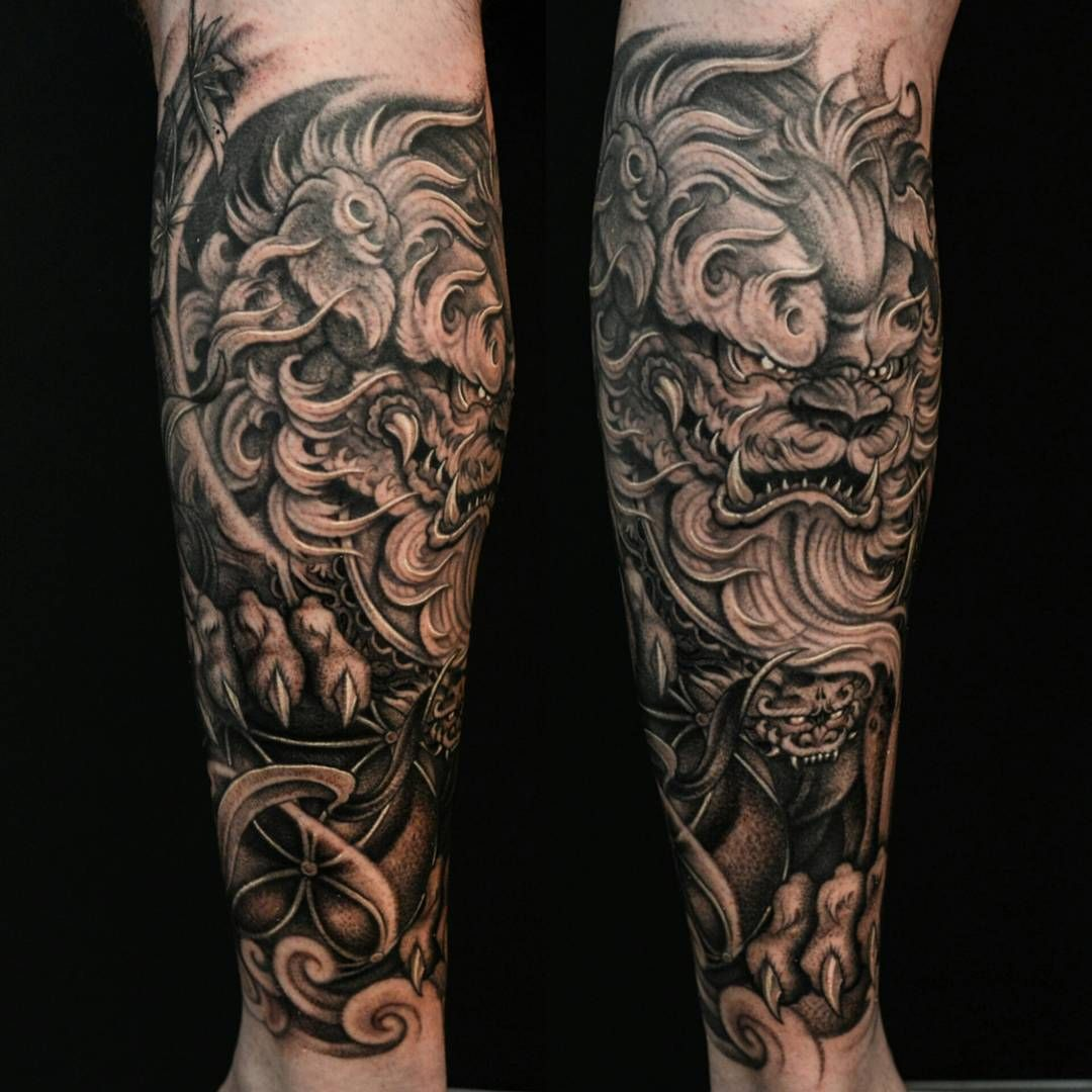 Foo Dog Forearm 1 2 Sleeve Tattos Pinterest Foo Dog Ideas And Designs