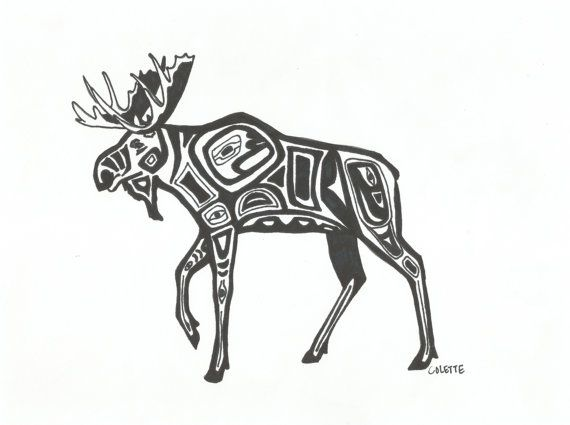 Alaskan Moose Tribal Style In Sharpie Ink By Essence Of Ideas And Designs