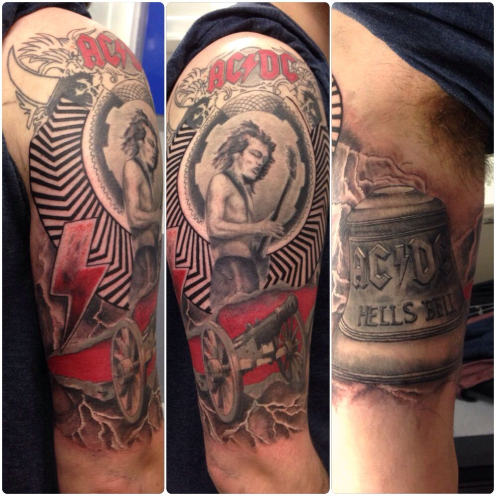 Ac Dc Album Cover Mix Half Sleeve Tattoo By Susy At Ideas And Designs