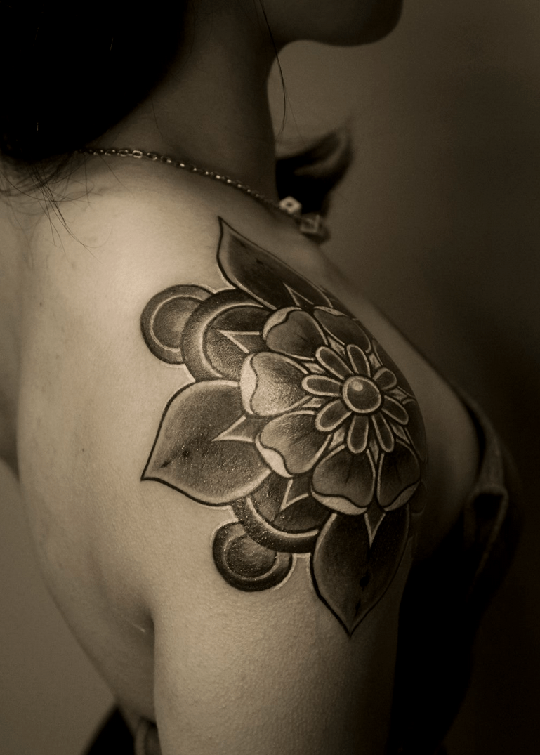 Intricate Rose Bud Shoulder Tattoo For Women Tattoos Ideas And Designs