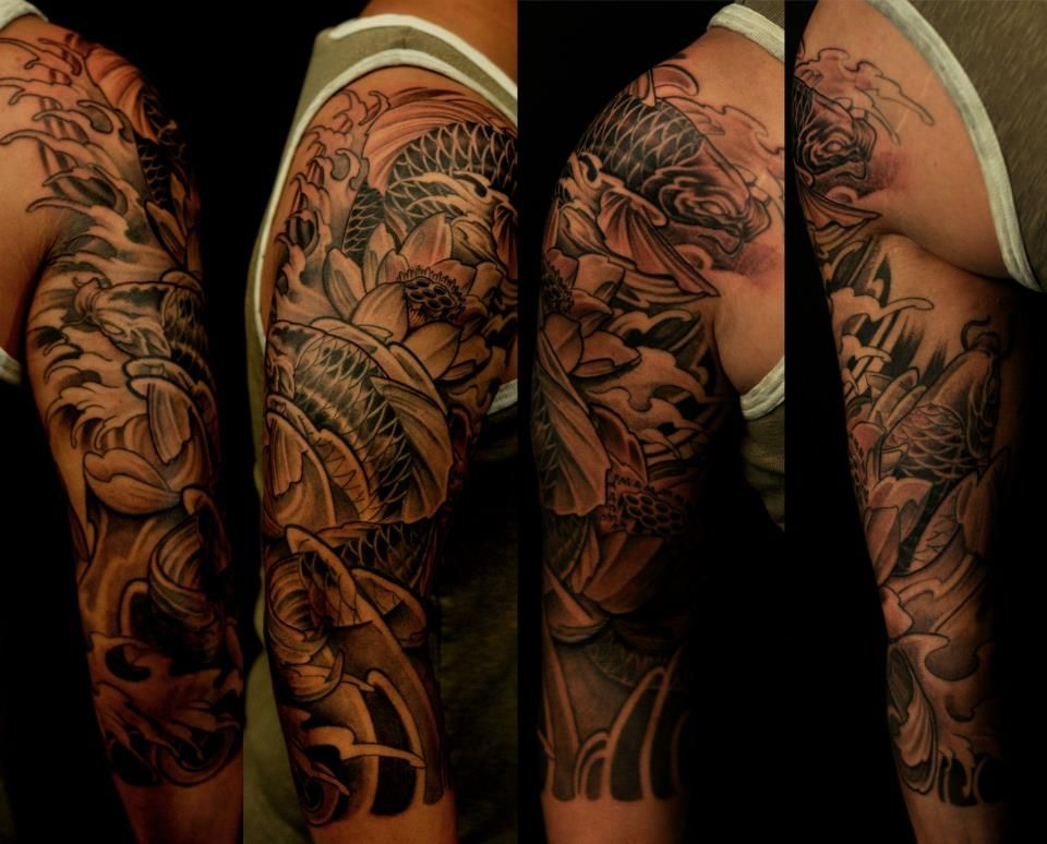 3 4 Koi Sleeve By Bks Koi Fish Tattoo Ideas And Designs