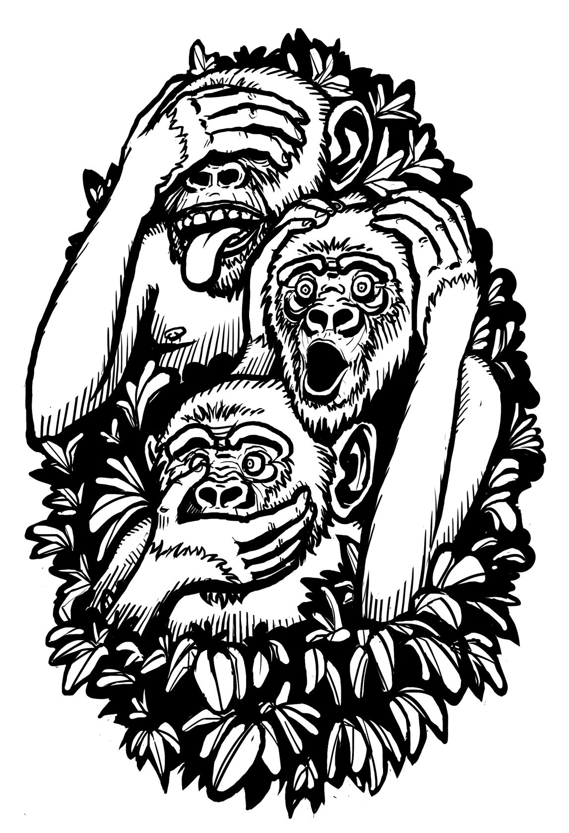 Three Wise Monkeys Tattoo חיפוש ב Google Printables Ideas And Designs