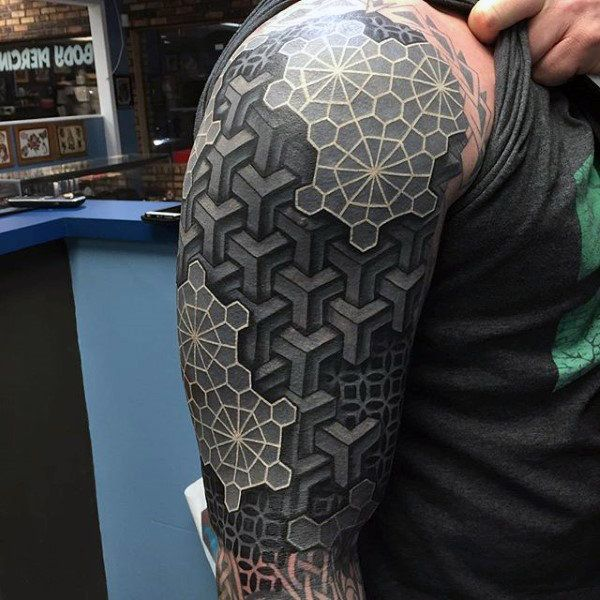 Mens Arms Black And White 3D Blocks Tattoo Tattoo Ideas And Designs