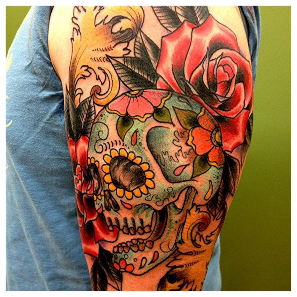 Sugar Skull And Roses Kirk Nilsen Crowne And Anchor Ideas And Designs