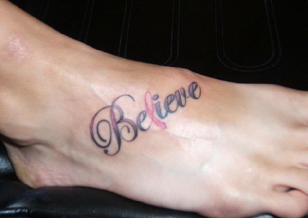 Br**St Cancer Believe Tattoos Believe Ribbon Cancer Ideas And Designs
