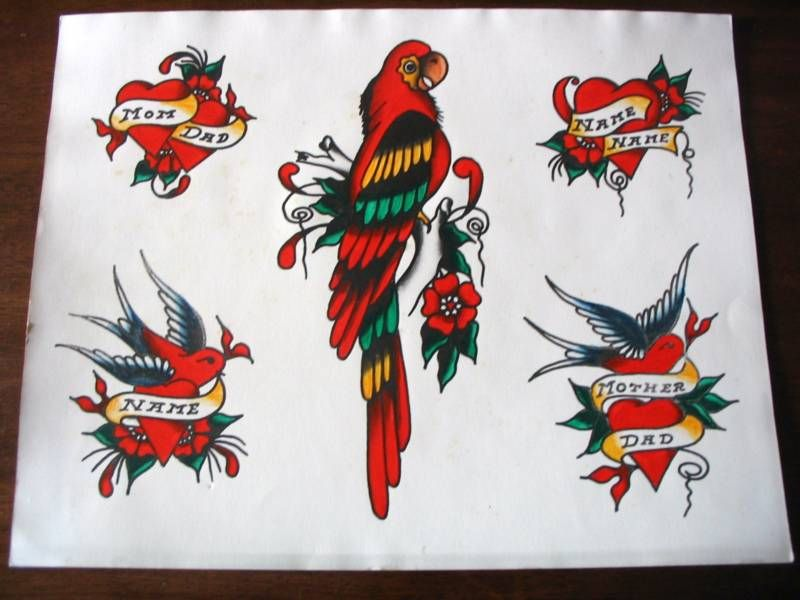 Vintage 1970 Photo Of 1940S Tattoo Flash 11X14 Parrot Ideas And Designs