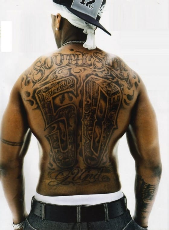 50 Cent His Gangsta Full Back Piece Tattoo Tattoodo Ideas And Designs