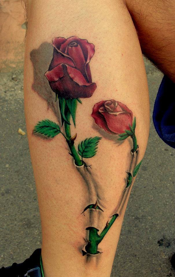 Beautiful 3D Red Rose Tattoo By Luci Ideas And Designs