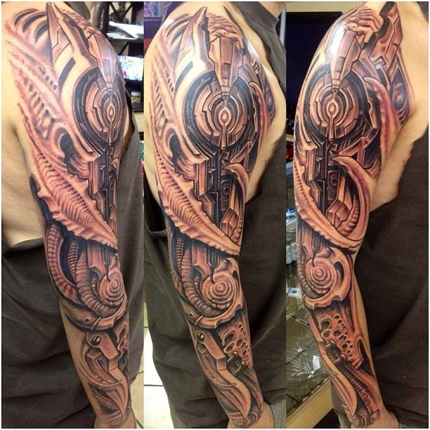 Biomechanical Tattoo On Full Sleeve By Roman Abrego Ideas And Designs