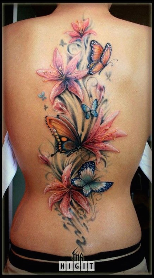3D Butterfly With Flower Tattoo On Back Shoulder Ideas And Designs