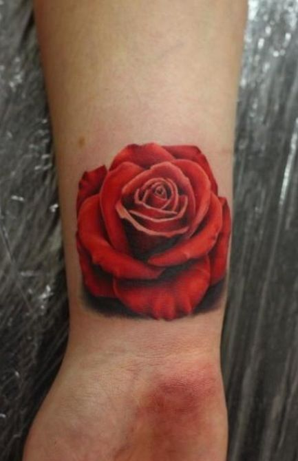 3D Red Rose Tattoo On Wrist Ideas And Designs