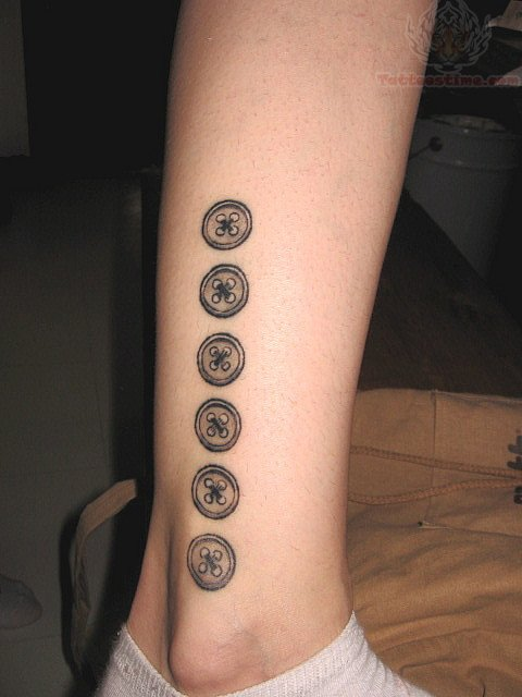 Black And Grey Six Buttons Tattoo On Leg By Kinikkin Reims Ideas And Designs
