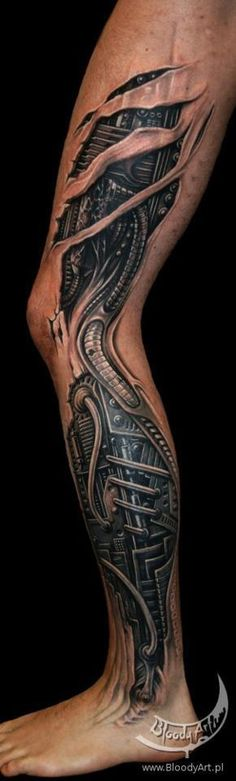 27 3D Leg Tattoos Ideas And Designs