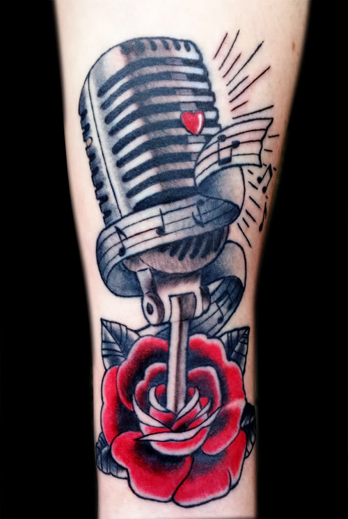35 Microphone Rose Tattoos Ideas And Designs
