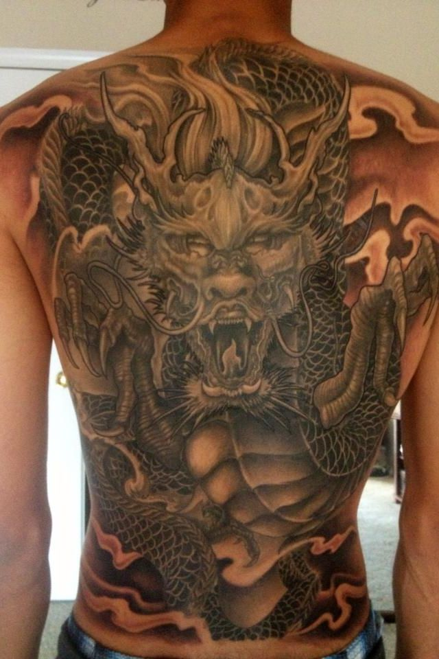 Black And Grey Dragon Tattoo On Man Full Back Ideas And Designs