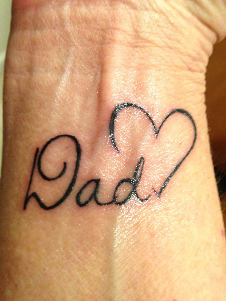 Dad With Small Heart Memorial Tattoo On Wrist Ideas And Designs