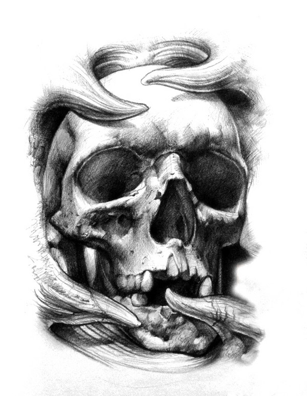 Grey And White 3D Skull Tattoo Design Ideas And Designs