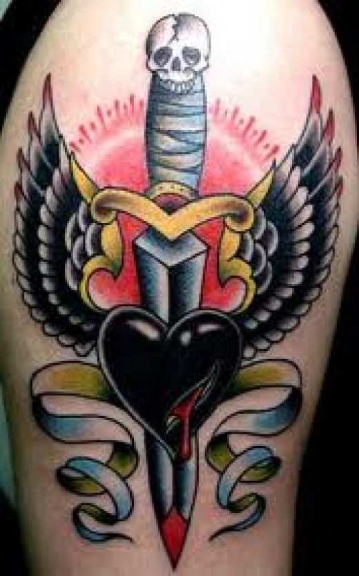 Traditional Dagger With Heart And Wings Tattoo Design For Ideas And Designs