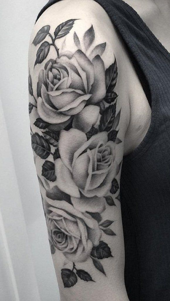 Black And White Roses Tattoo On Right Half Sleeve Ideas And Designs