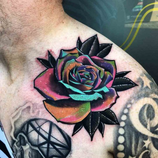 Colorful Rose Tattoo On Front Shoulder Ideas And Designs