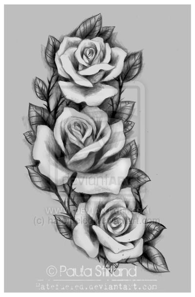 Grey And Black Three Roses Tattoos Design Ideas And Designs