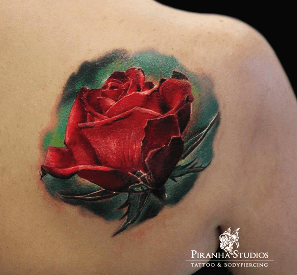 Realistic Red Rose Tattoo On Right Back Shoulder Ideas And Designs
