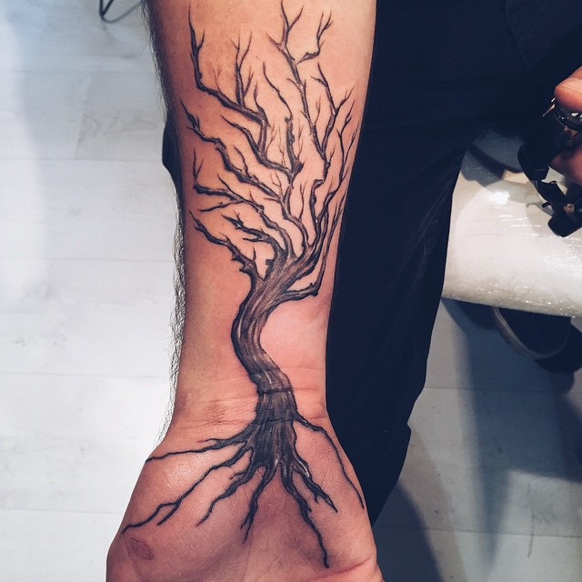 Ash Tree Tattoo On Man Right Forearm Ideas And Designs