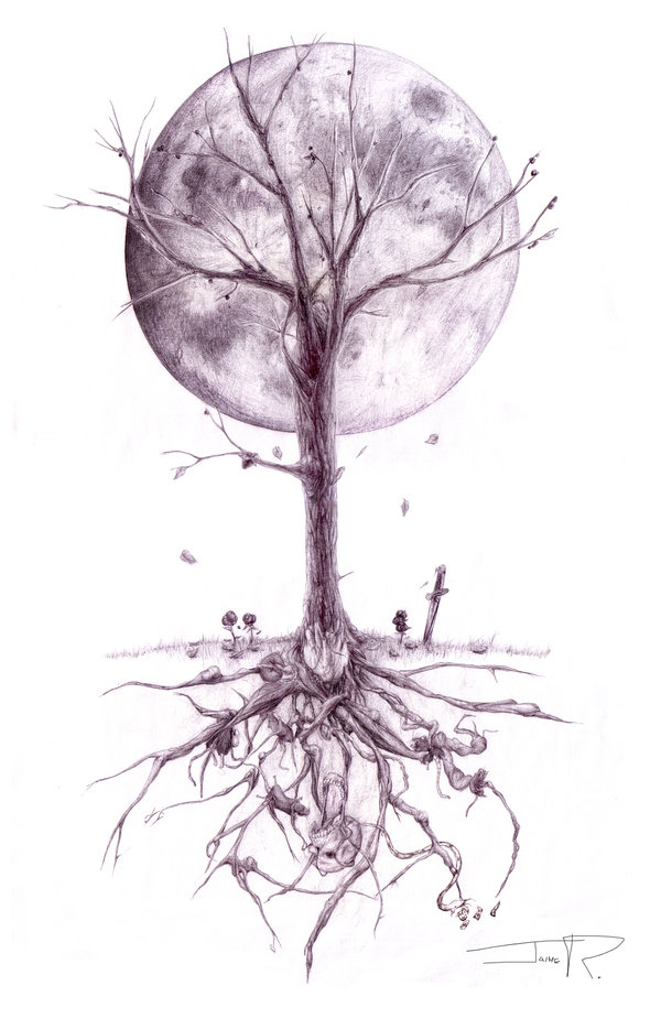 Moon And Ash Tree Tattoo Design Ideas And Designs