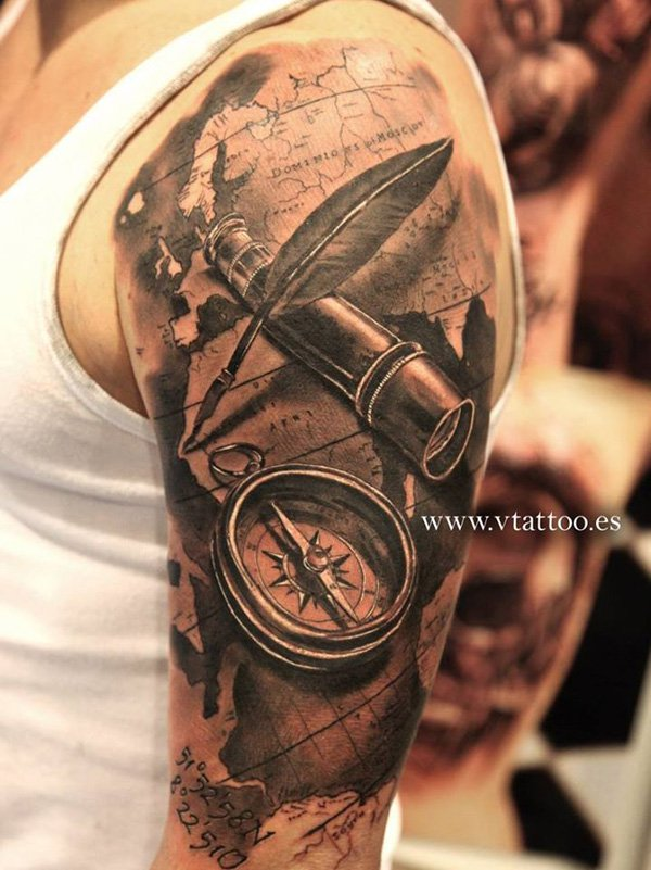 3D Nautical Tattoo On Half Sleeve Ideas And Designs