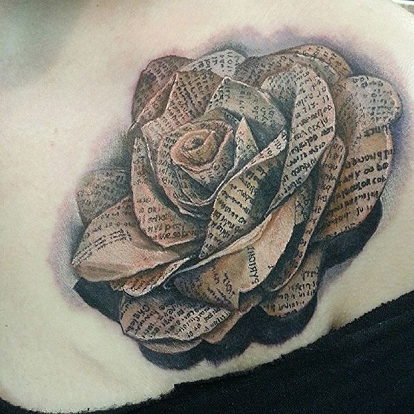 3D Paper Flower Tattoo Ideas And Designs