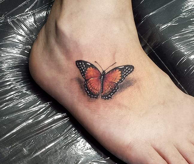 Small 3D Butterfly Tattoo On Foot Creativefan Ideas And Designs