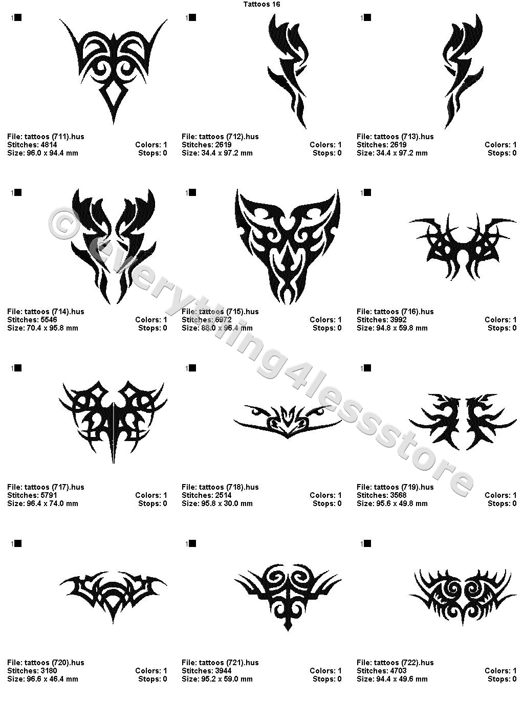 48 Tattoos 4X4 Volume 16 Mega Embroidery Designs On Cd Ebay Ideas And Designs