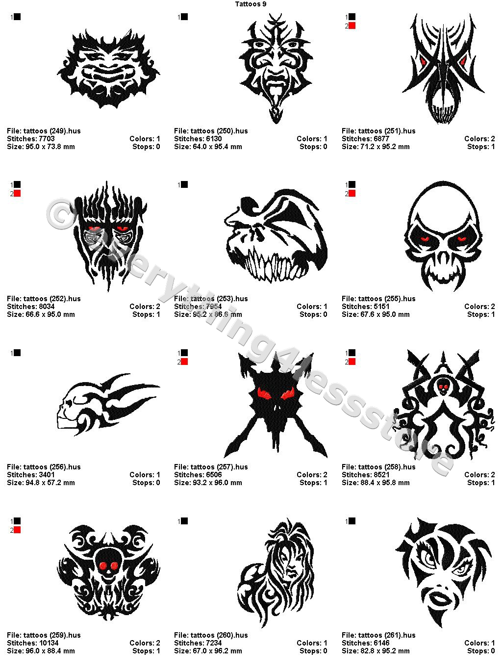 48 Tattoos 4X4 Volume 9 Mega Embroidery Designs On Cd Ebay Ideas And Designs